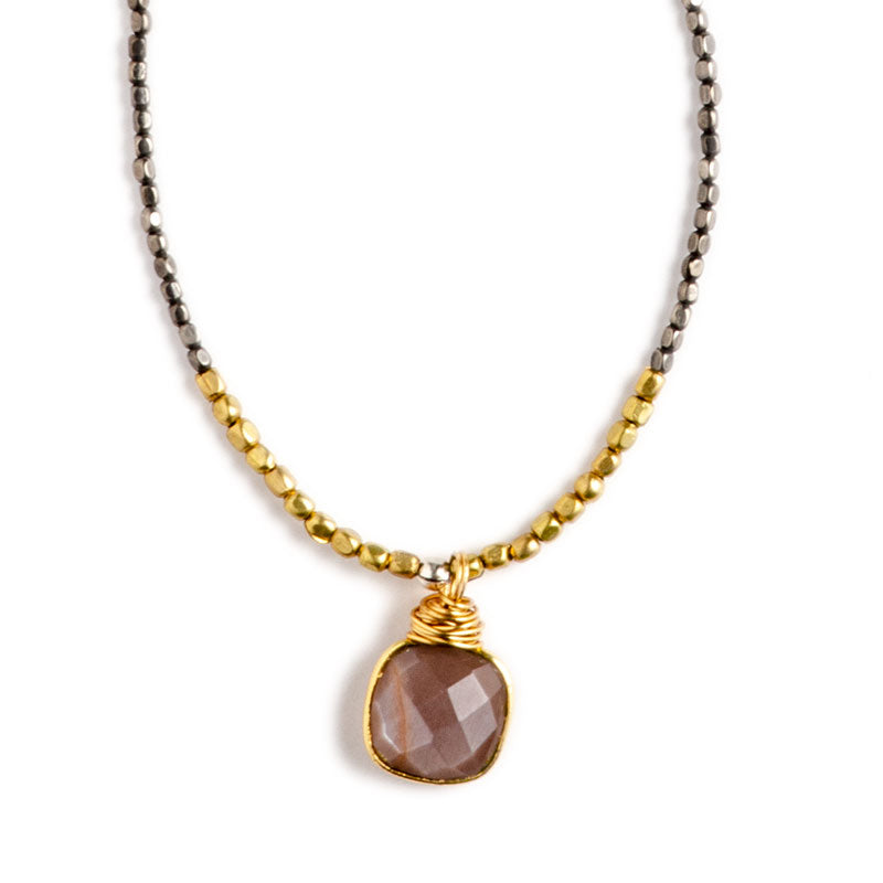 Madrona Infinity Necklace Cocoa Moonstone