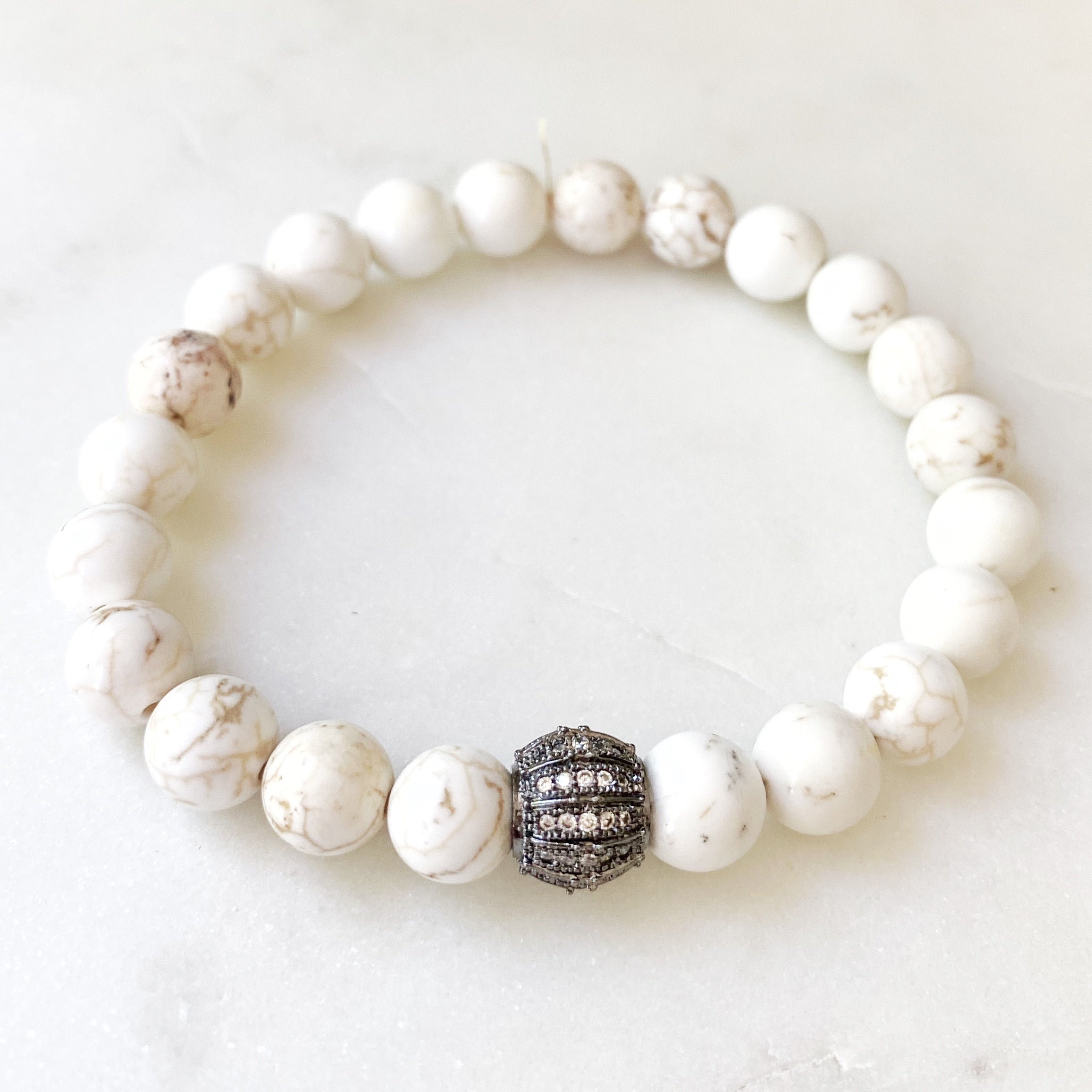 Gemstone Stretch Bracelet, Howlite
