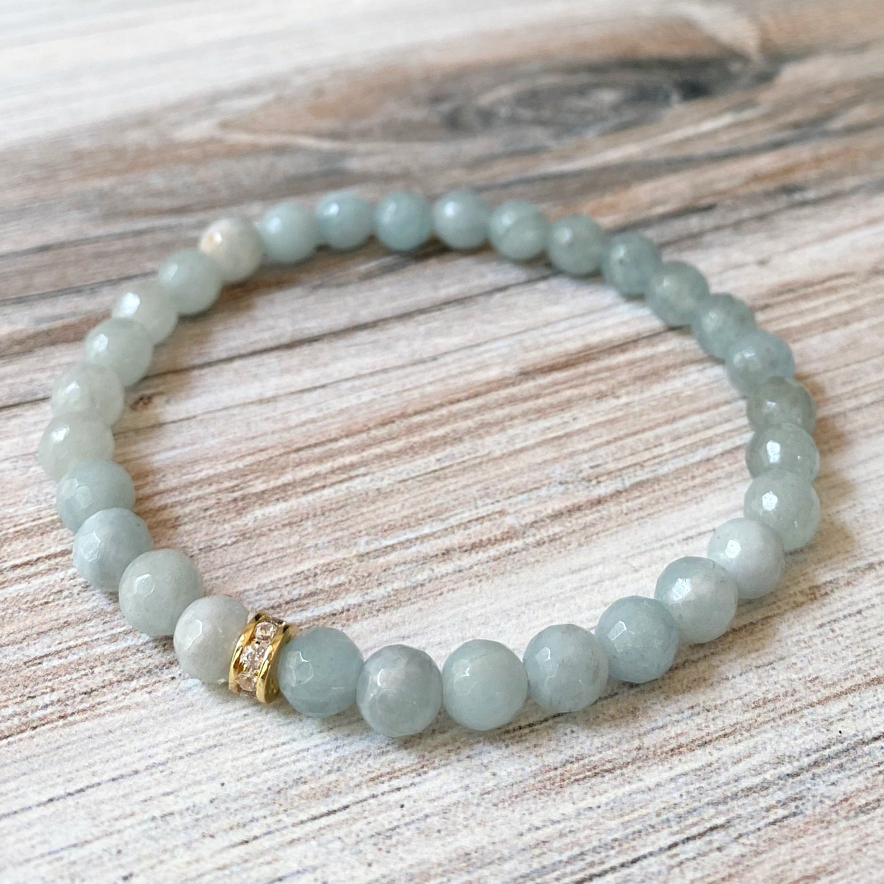 Gemstone Stretch Bracelet, Sky Blue Aquamarine
