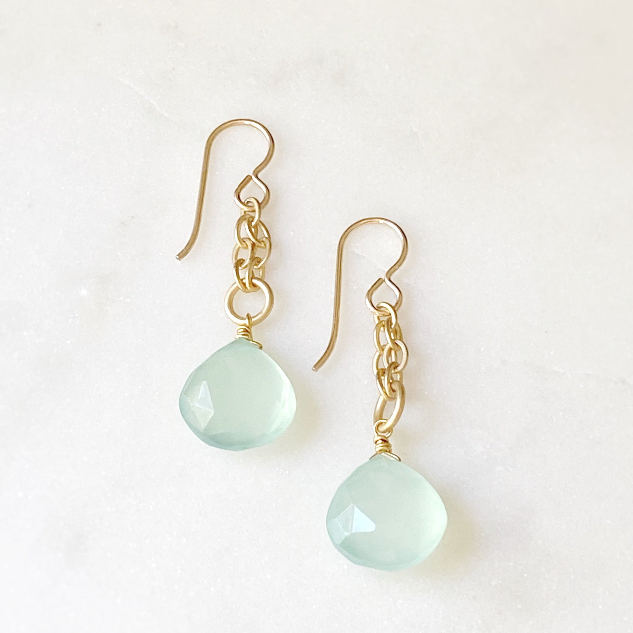 Surf Earrings, Chalcedony
