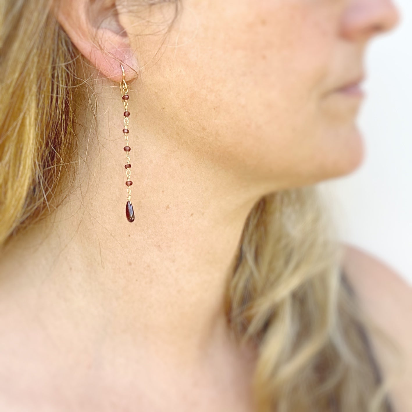 Tendril Earrings Garnet
