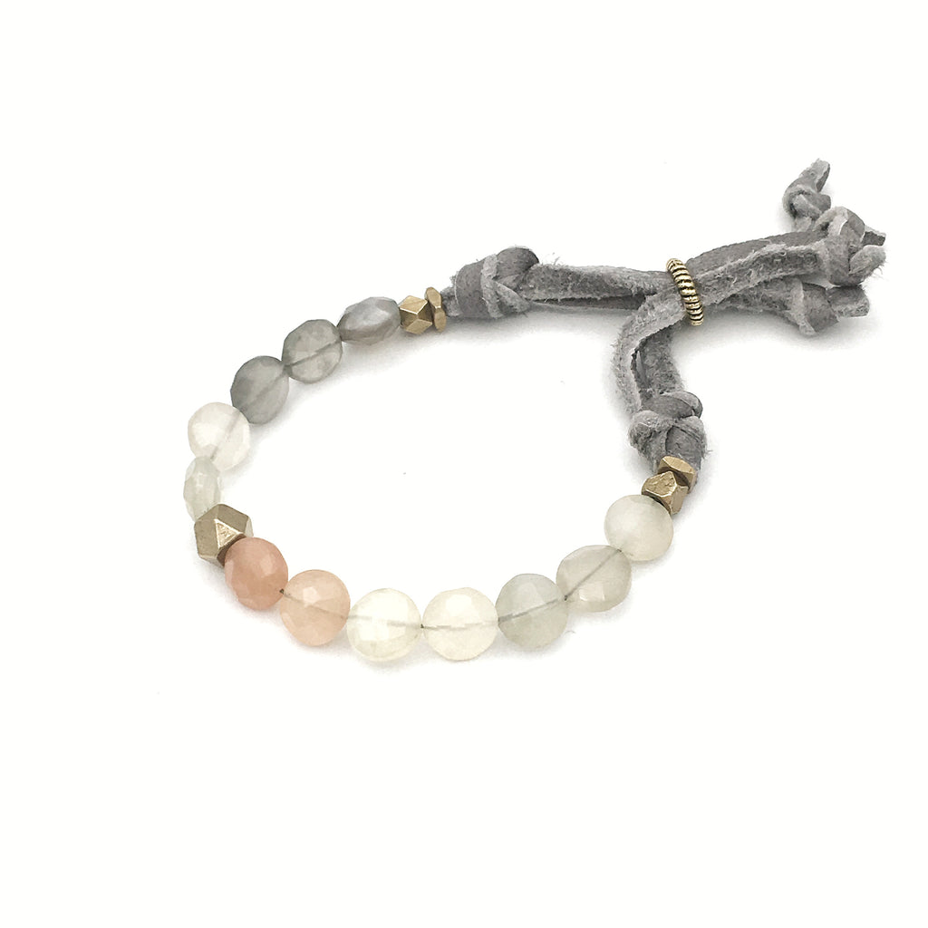 Silverado Coin Bracelet Adjustable, Blush Moonstone