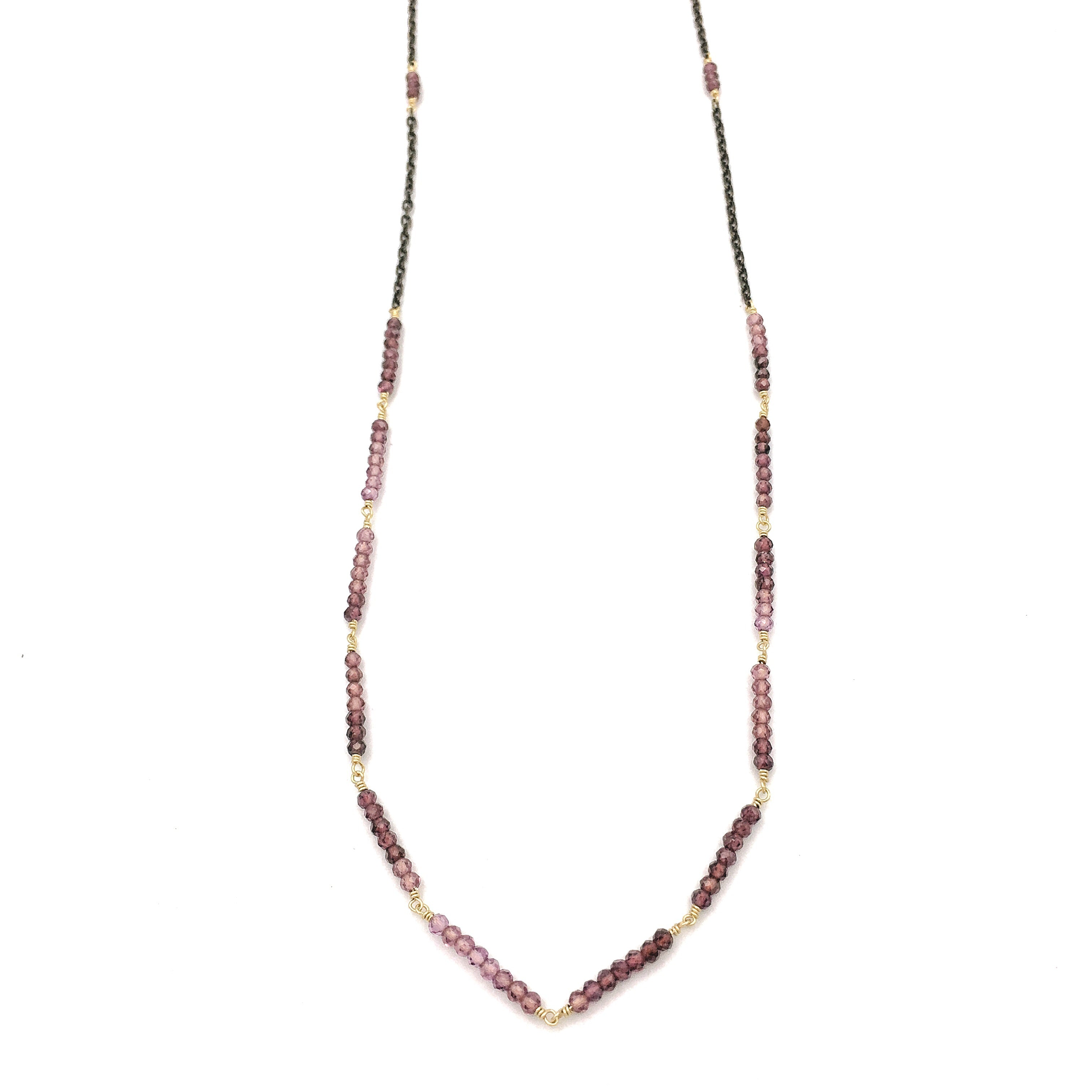 Glass Mountain Segment Necklace, Rhodolite