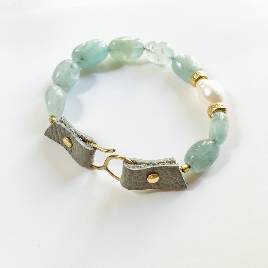 Stream Bracelet, Aquamarine with Pearl