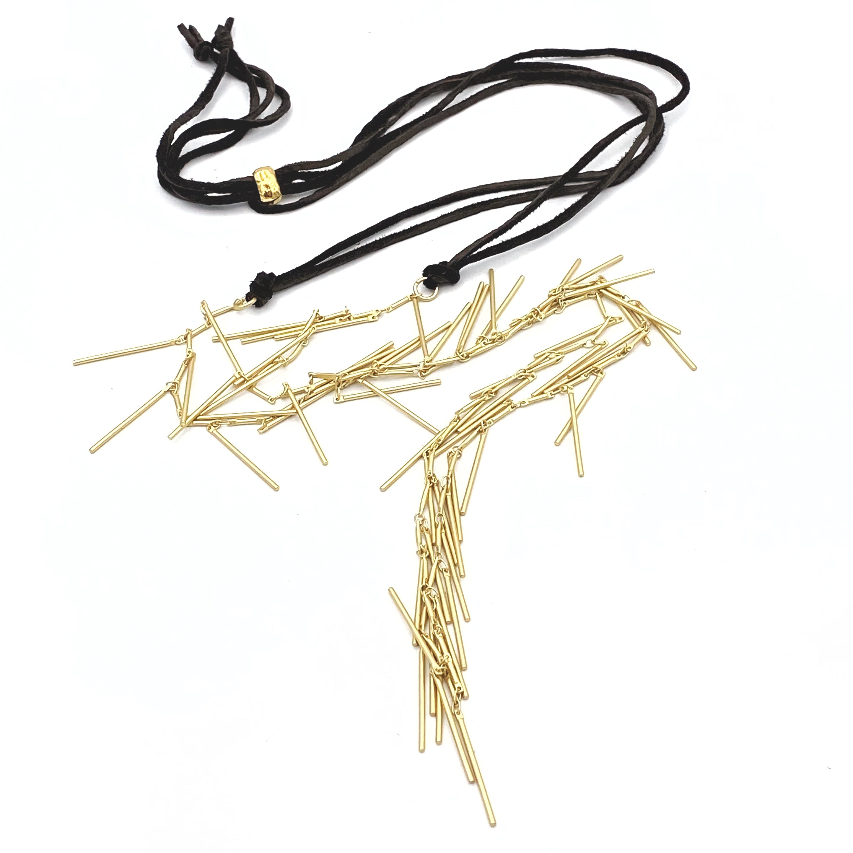 Camelia Necklace Satin Gold & Leather