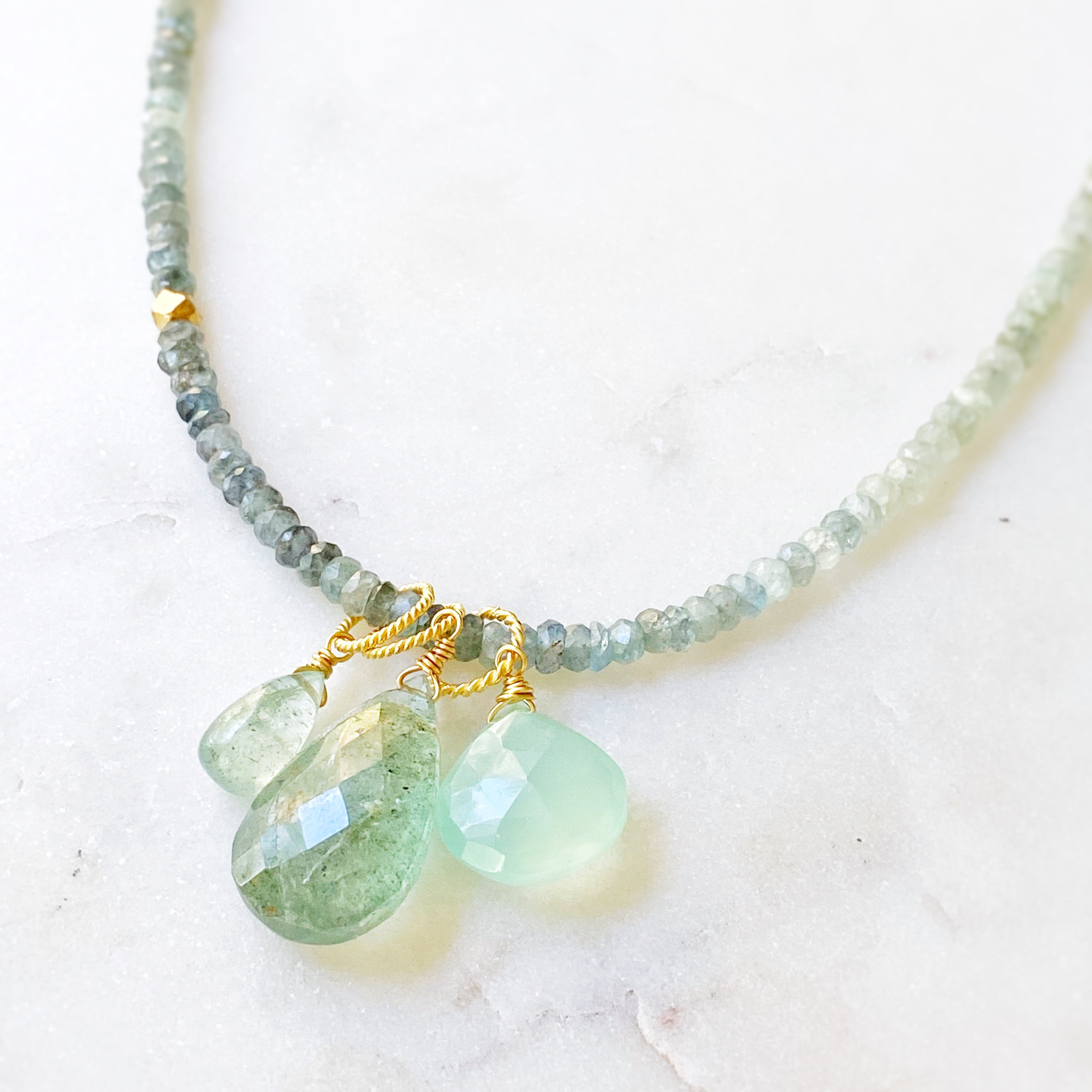 Headwaters Focal Drop Necklace, Moss Aquamarine