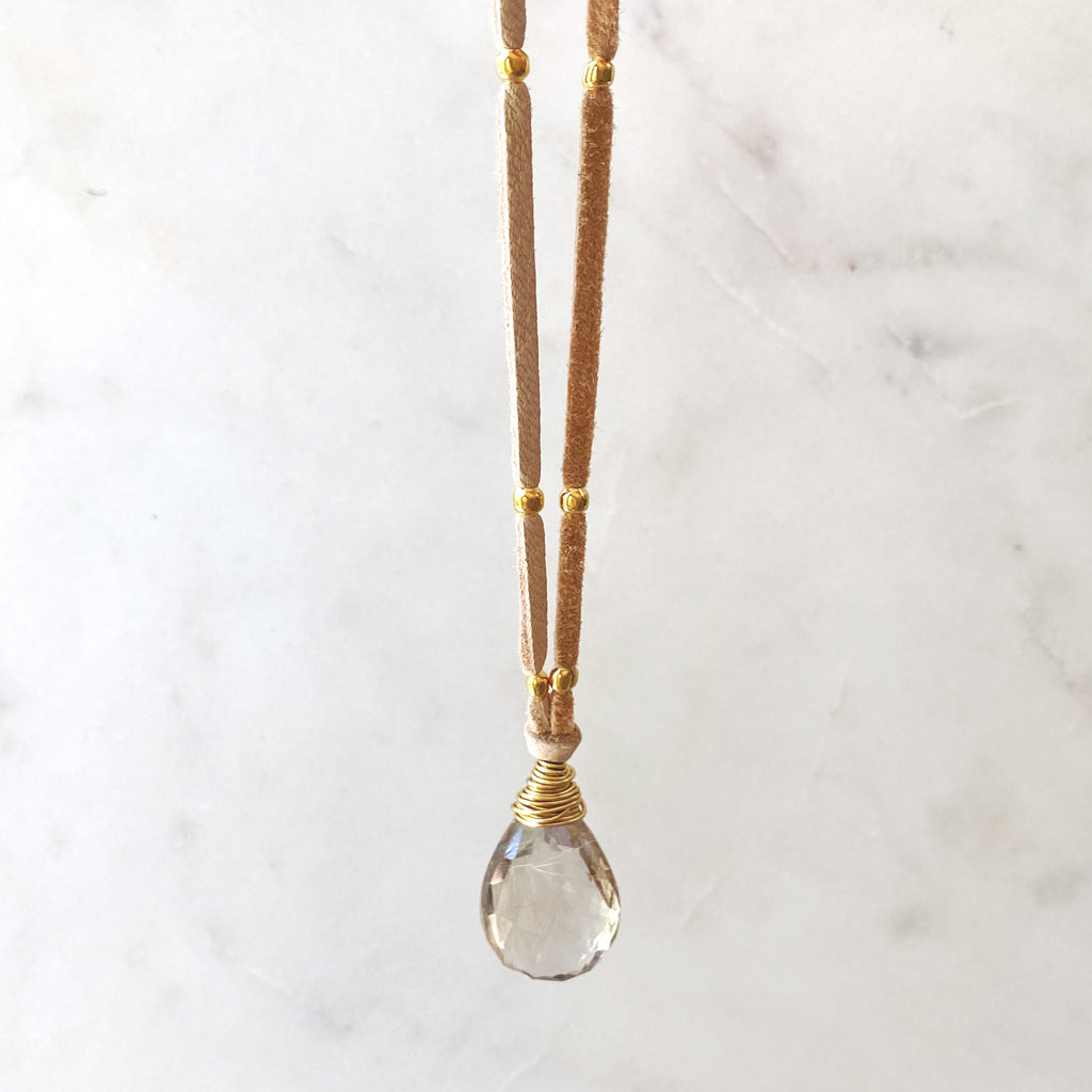 Money Lane Pendant, Crystal Quartz with Golden Rutile