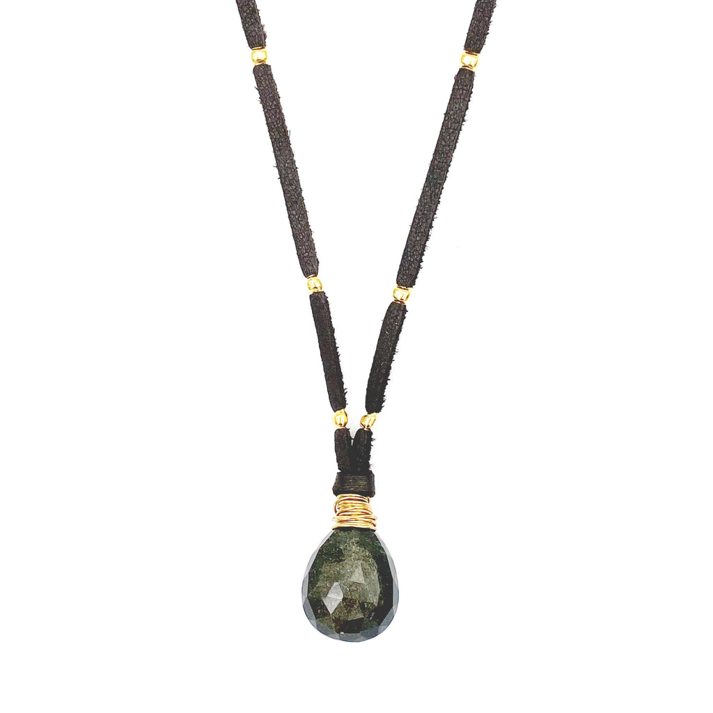 Money Lane Pendant, Gold Obsidian