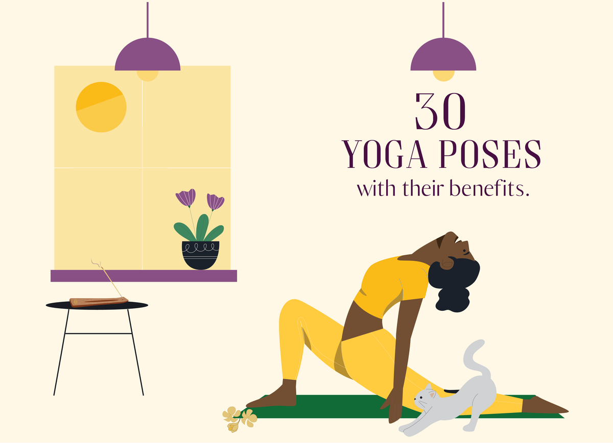 50 types of yoga postures and their benefits.