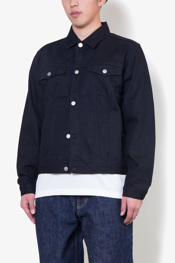 Stretch Denim jacket-BLACK