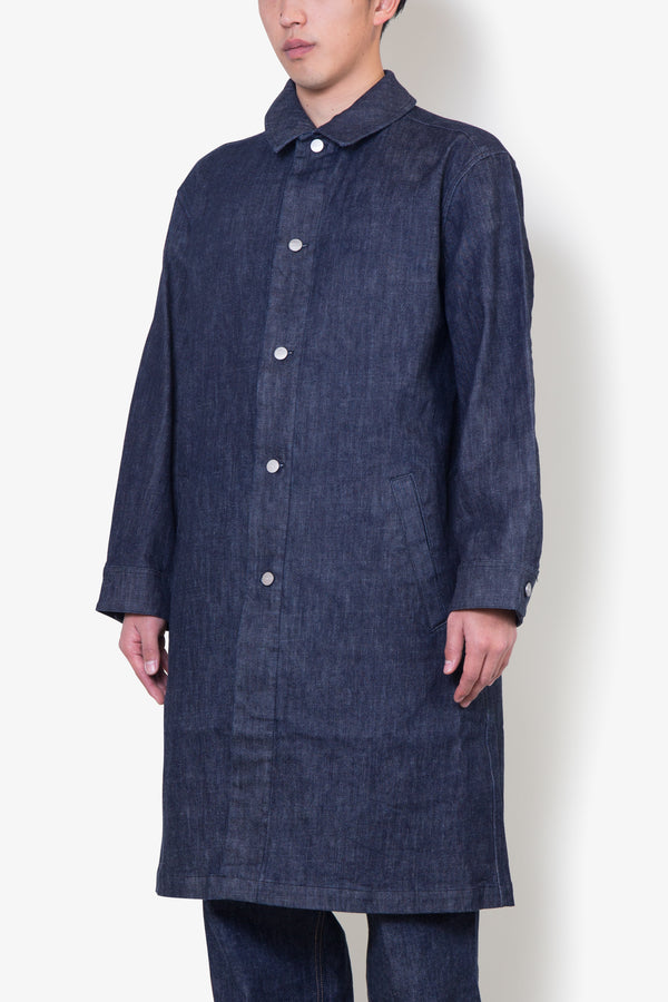Stretch Denim shop coat BLUE
