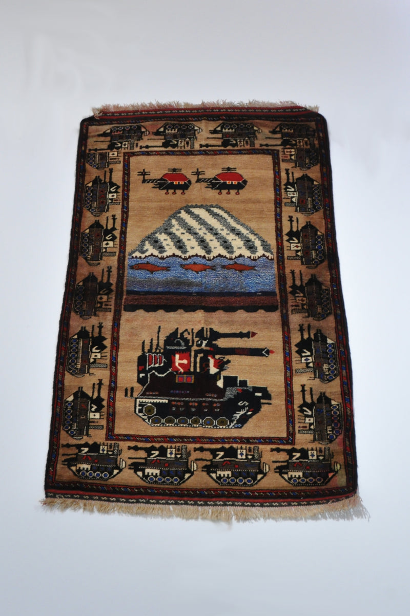 War Rug  Souvenir Rug tank & mountain1