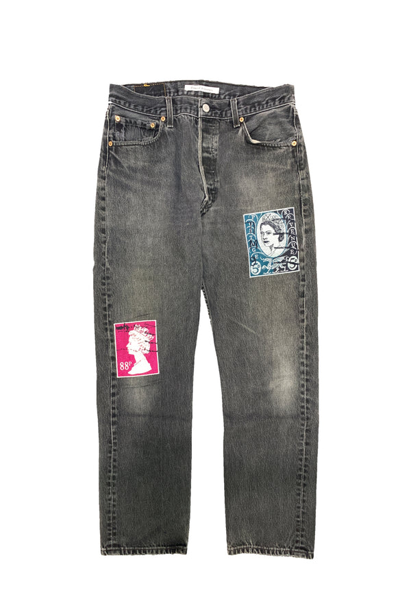 VINTAGE EMBROIDERY DENIM PANTS A-BLK