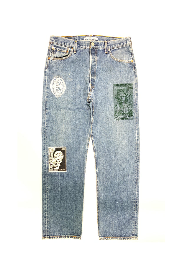 VINTAGE EMBROIDERY DENIM PANTS B-BLUE