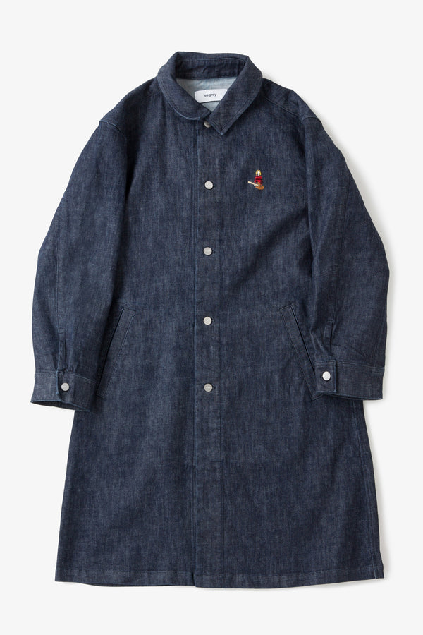 Good walkin Hand Embroidery Stretch Denim shop coat BLUE KC