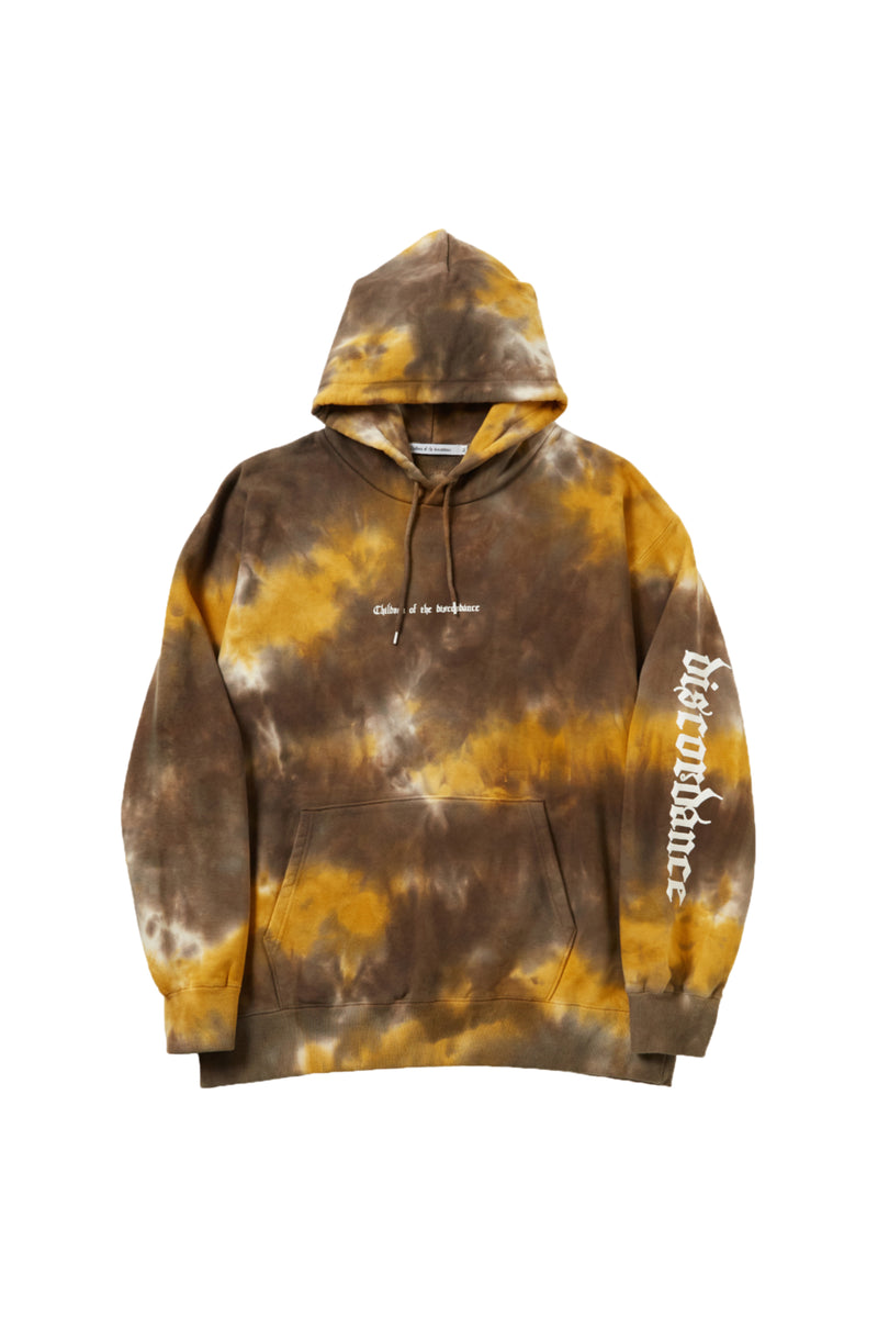 HAND DYEING AND PRINT HOODIE C YELLOW