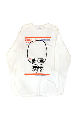 UFO907 HAND EMBROIDERY T-SHIRT CUTE EYE L-S WHITE