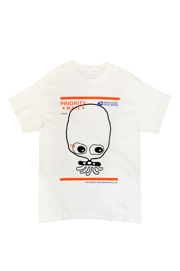 UFO907 HAND EMBROIDERY T-SHIRT CUTE EYE S-S WHITE
