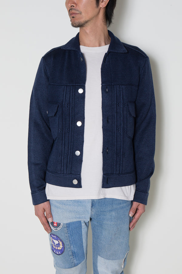 INSONNIA WASH WOOL KNIT JACKET 2ND TYPE-NAVY