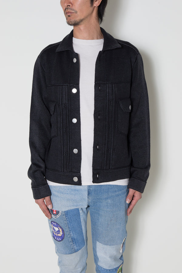 INSONNIA WASH WOOL KNIT JACKET 2ND TYPE-BLACK