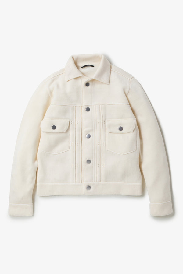 INSONNIA WASH WOOL KNIT JACKET 2ND TYPE-WHITE