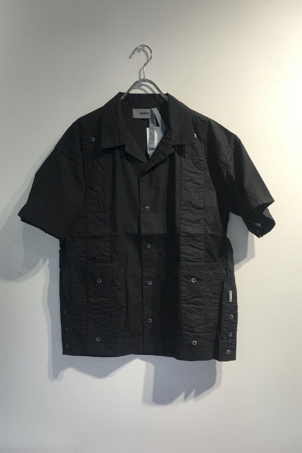 refined effect open collar shirts BLACK