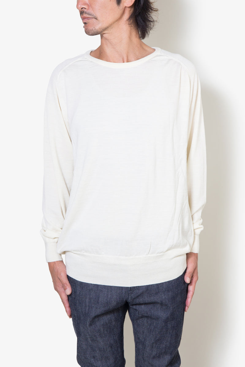 INSONNIA WASH WOOL CREW KNIT WHITE