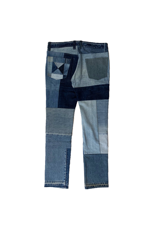 VINTAGE PATCH DENIM PANTS BLUE-02