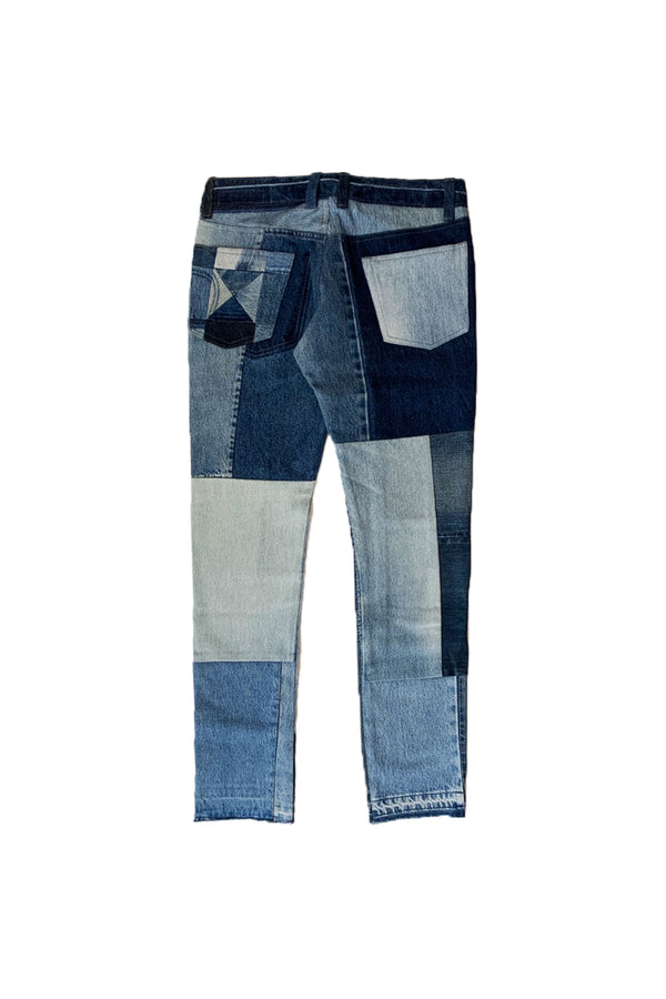 VINTAGE PATCH DENIM PANTS BLUE-01