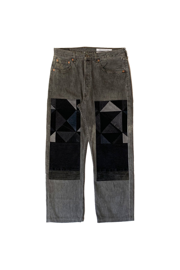 NY OLD PATCH DENIM PANTS LONG BLACK 01