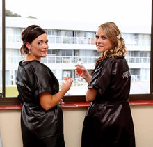 Load image into Gallery viewer, BLACK SATIN GOWNS WITH WHITE EMBROIDERY