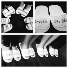 Load image into Gallery viewer, BRIDAL SLIPPERS GOLD WORDING