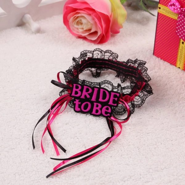 BRIDE TO BE BLACK GARTER WITH PINK RIBBON