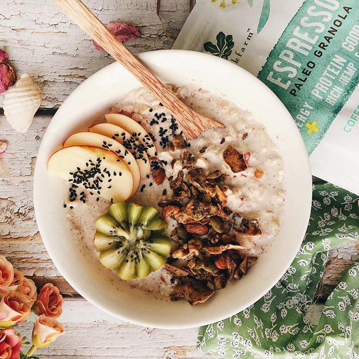 Cinnamon Bun Bircher with Espresso Granola - Brookfarm