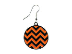 Chevron Black & Orange Round Dangle Earrings