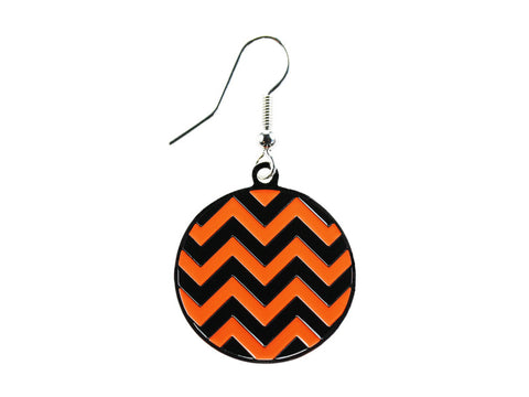 Chevron Black & Orange Round Dangle (CHVRNDEBK/O)