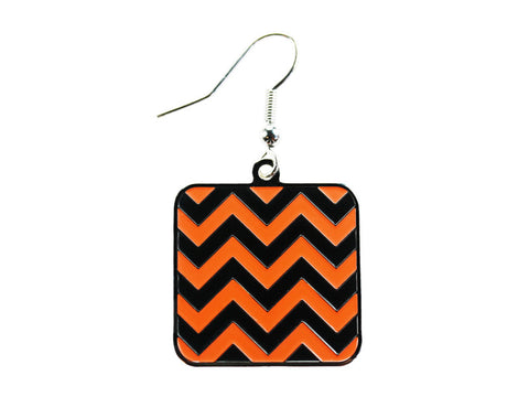 Chevron Black & Orange Square Dangle (CHVSQDEBK/O)