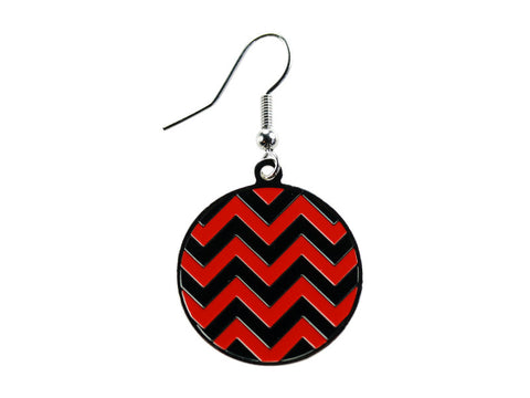 Chevron Black & Red Round Dangle (CHVRNDEBK/R)