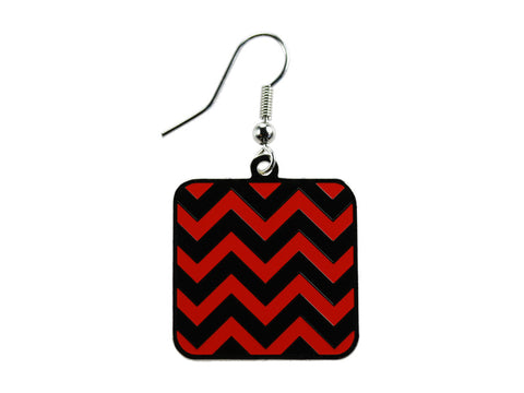 Chevron Black & Red Square Dangle Earrings (CHVSQDEBK/R)