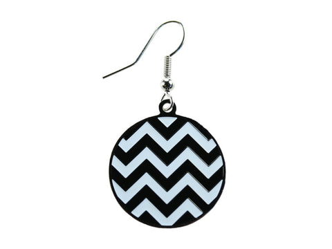 Chevron Black & White Round Dangle (CHVRNDEBK/W)