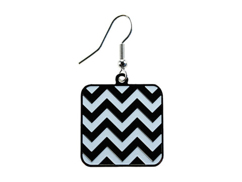 Chevron Black & White Square Dangle (CHVSQDEBK/W)