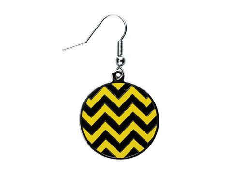 Chevron Black & Yellow Round Dangle (CHVRNDEBK/Y)