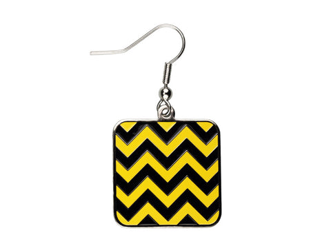 Chevron Black & Yellow Square Dangle (CHVSQDEBK/Y)