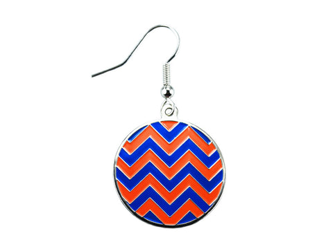Chevron Blue & Orange Round Dangle (CHVRNDEBL/O)