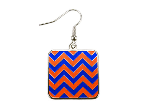 Chevron Blue & Orange Square Dangle Earrings