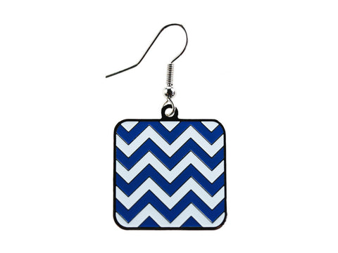 Chevron Blue & White Square Dangle (CHVSQDEBL/W)