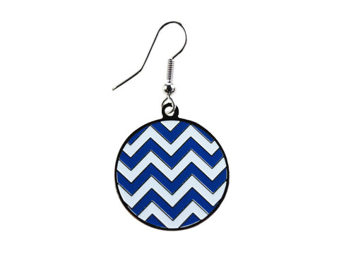 Chevron Blue & White Round Dangle (CHVRNDEBL/W)
