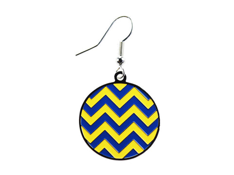Chevron Blue & Yellow Round Dangle (CHVRNDEBL/Y)