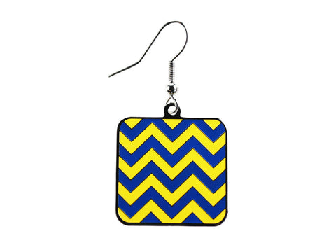 Chevron Blue & Yellow Square Dangle (CHVSQDEBL/Y)