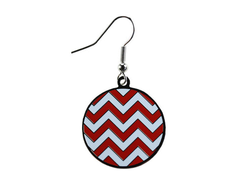 Chevron Red & White Round Dangle (CHVRNDEC/W)